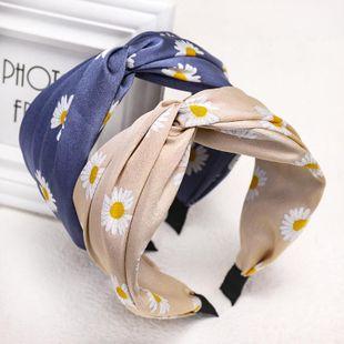 Korea's new fashion fabric print headband cross knot wide-edge cheap headband wholesale NHDM207785's discount tags