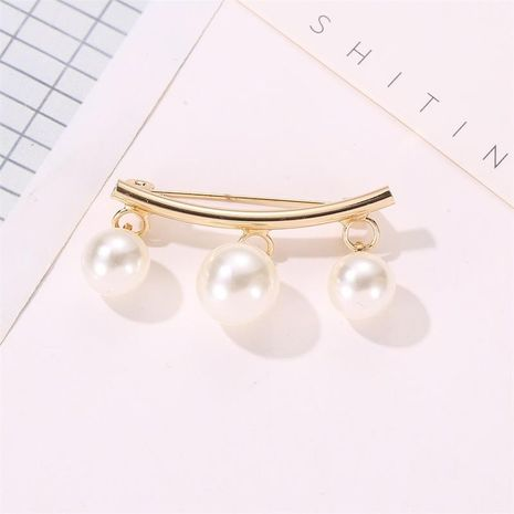 New fashion simple collar pin curved pearl brooch wholesale NHMO207835's discount tags
