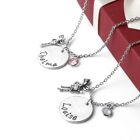 New fashion round tag necklace creative revolver lettering Louise Thelma couple necklace NHMO207853's discount tags