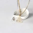 New Fashion Harry Potter Deathly Hallows Resurrection Stone Pendant Rotatable Triangle Necklace NHMO207885