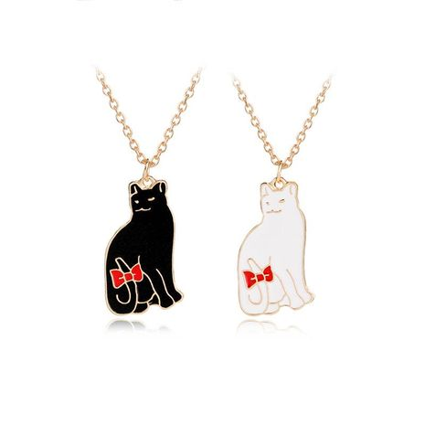 New oil drop cartoon kitten necklace cute red bow pet cat necklace couple necklace NHMO207891's discount tags