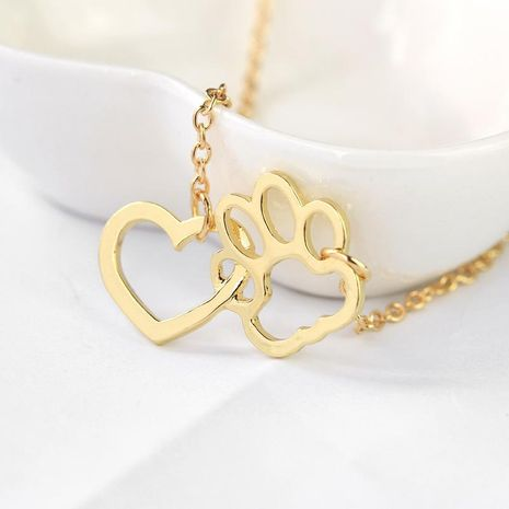 New fashion heart-shaped dog paw stitching pendant necklace wholesale NHMO207897's discount tags