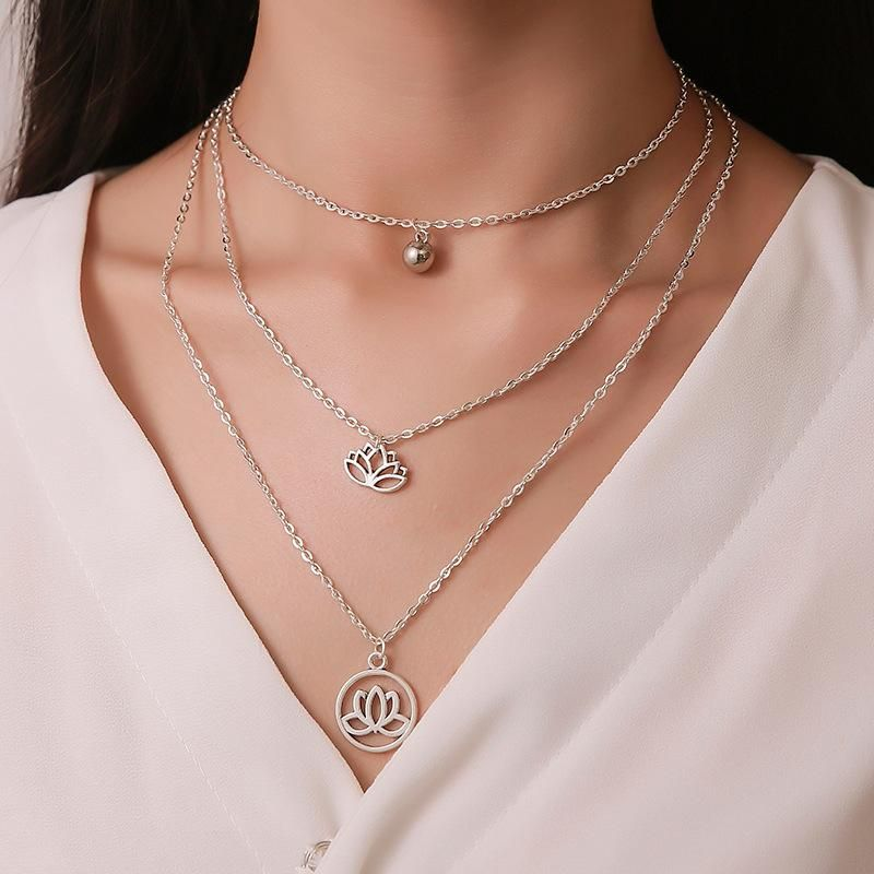 New fashion lotus necklace bell pendant necklace multi-layer necklace female fashionable three-layer retro necklace NHMO207903