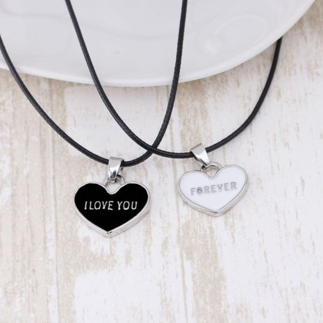 New fashion couple necklace accessories female fashion I Love You Forever heart-shaped black and white necklace NHMO207908's discount tags