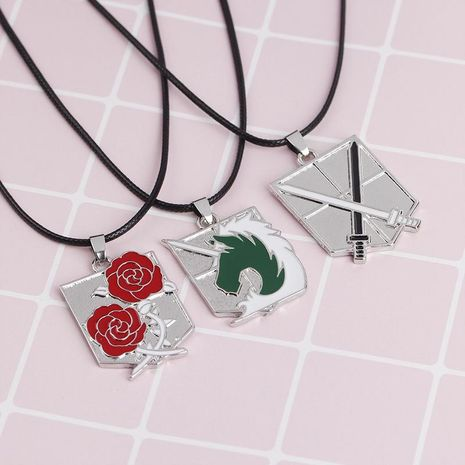 New fashion wings of freedom cruel sword law enforcement unicorn guard rose necklace NHMO207922's discount tags