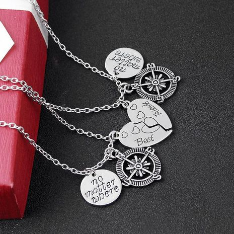 New Fashion Necklace Heart Set Best Friend Anchor Compass Pendant Necklace NHMO207954's discount tags