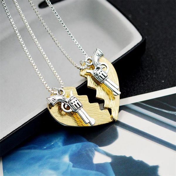 New fashion necklace Thelma Louise Bonnie Clyde revolver love stitching necklace NHMO207958