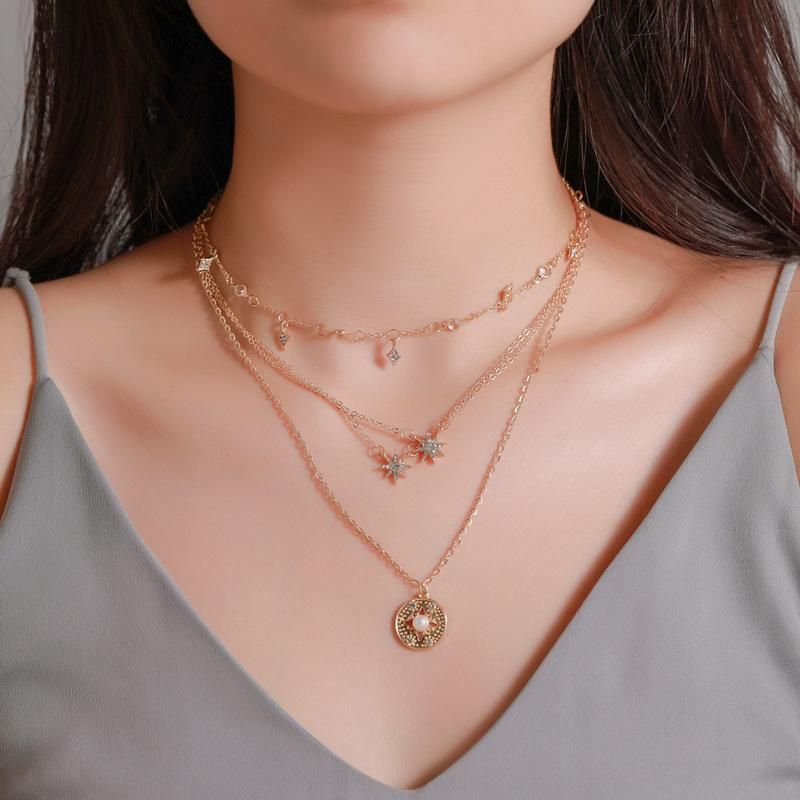 New 4layer necklace ladies long multilayer star necklace wholesale NHMO207962