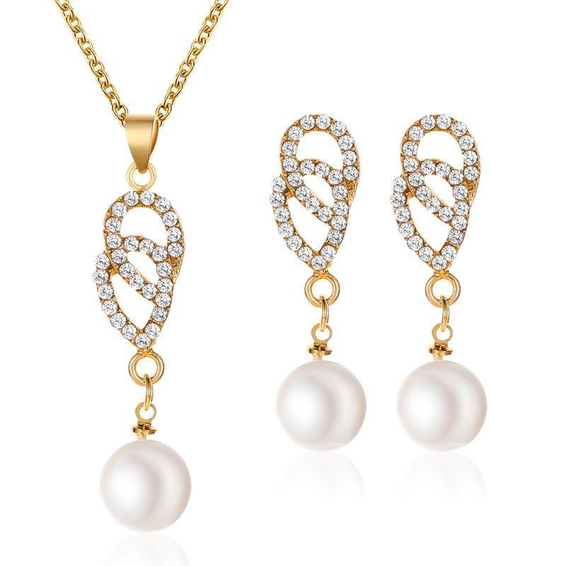 New Fashion Diamond Drop Two Piece Necklace Earring Pearl Set Decoration Wholesale NHMO207972