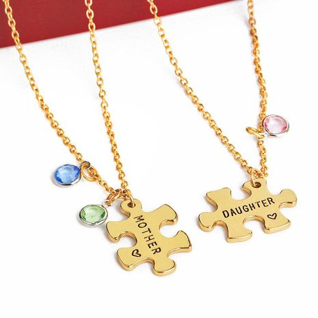 Hot Mother's Day Gift Mother And Daughter Two-Piece Splicing Necklace Wholesale NHMO207975's discount tags