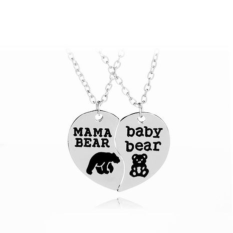 Mother's Day gift love splicing bear necklace clavicle chain Mama Bear Baby bear English necklace NHMO207983's discount tags