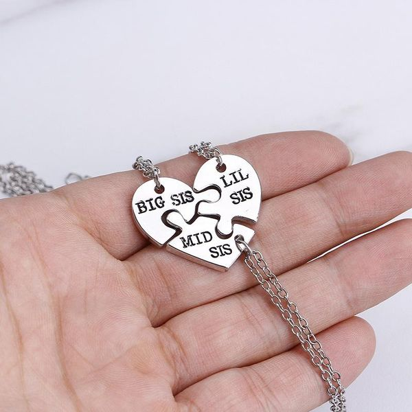 Fashionable good sister necklace three petal heart stitching necklace Big Mid Lil Sis accessories yiwu nihaojewelry wholesale NHMO207999