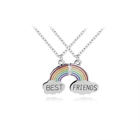 Fashion Creative Rainbow Necklace Best friends Best friends Two-petal stitching necklace accessories NHMO208003's discount tags