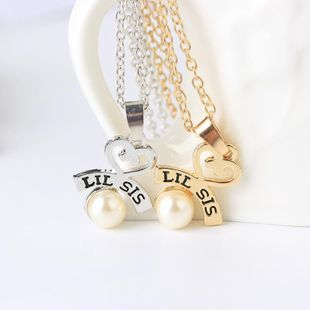 Hot letters Lil Big Sister good sister love pearl necklace yiwu nihaojewelry wholesale NHMO208009's discount tags