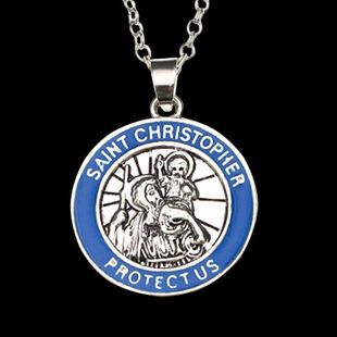 The new necklace Christopher's patron saint Christopher pendant necklace accessories NHMO208015's discount tags