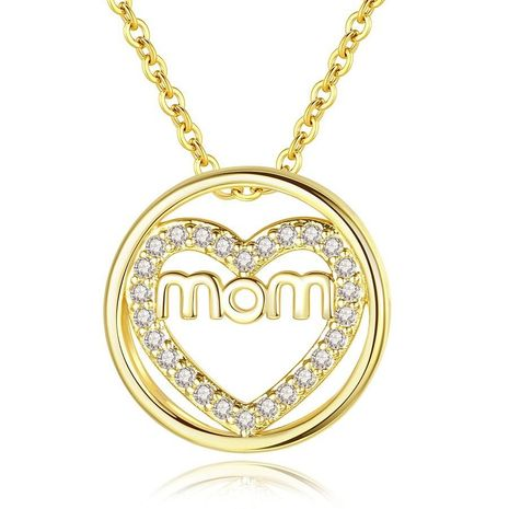 Korean New Zircon Necklace Circle Heart Pendant Mother's Day Necklace Wholesale NHKN208022's discount tags