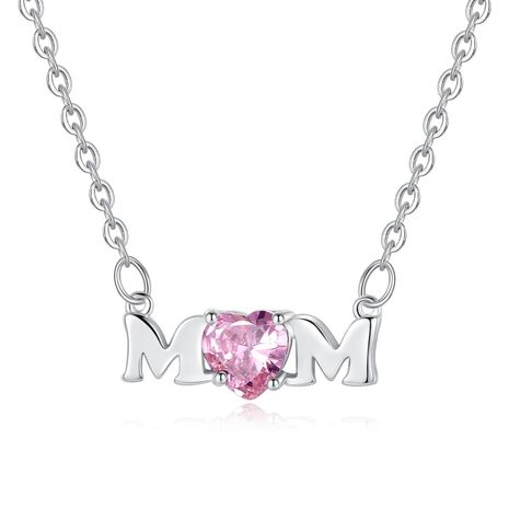 New Mother's Day Necklace Pink Heart Shaped Zircon Alphabet Necklace Necklace Wholesale NHKN208023's discount tags