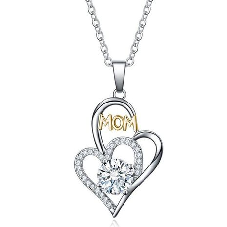 Mother's Day necklace wholesale new fashion mom color separation heart-shaped diamond necklace yiwu wholesale NHKN208024's discount tags
