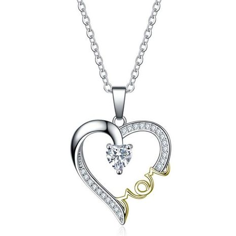 New Fashion Necklace Heart Shaped Diamond Mother's Day Necklace Wholesale NHKN208025's discount tags