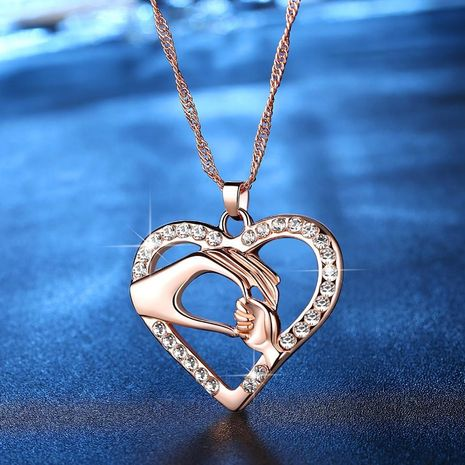New fashion mother's hand heart-shaped necklace pendant mother's day necklace wholesale NHKN208026's discount tags