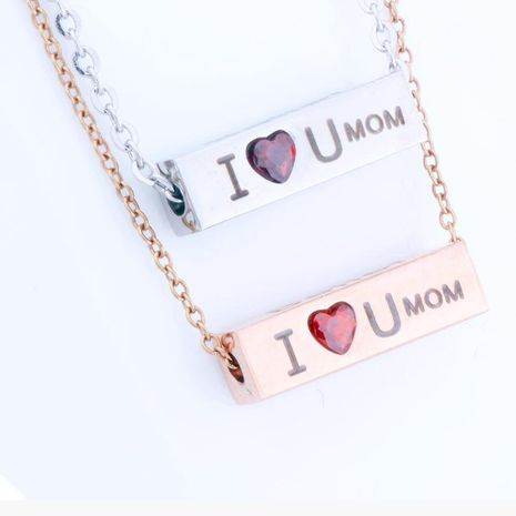 Stainless Steel Wishing Column Necklace Electroplating 18K Rose Gold Mother's Day Necklace Wholesale NHKN208028's discount tags