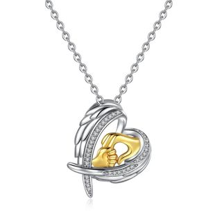 New fashion big hands holding small hands mother's day necklace angel wings heart-shaped necklace wholesale NHKN208029's discount tags