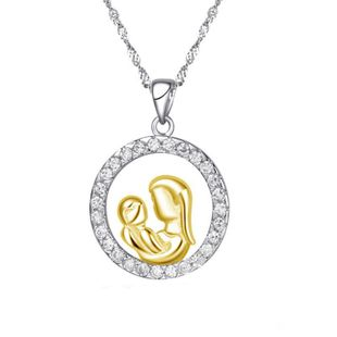 Mother's Day necklace wholesale zircon sterling silver round diamond necklace yiwu nihaojewelry wholesale NHKN208030's discount tags