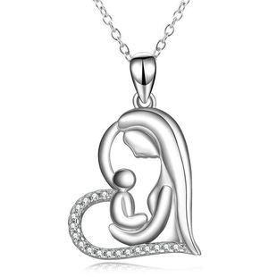 New fashion mother and child pendant heart-shaped clavicle chain silver necklace mother's day necklace wholesale NHKN208033's discount tags