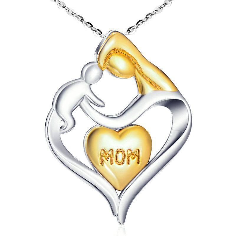 Mother's Day necklace wholesale clavicle chain mother and child pendant heart-shaped necklace yiwu nihaojewelry wholesale NHKN208035