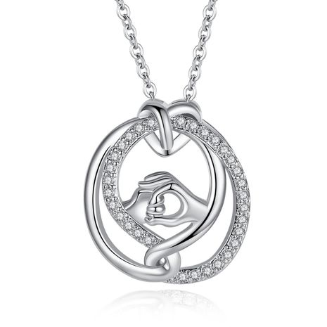 New mother's day necklace wholesale hand in hand necklace inlaid zircon necklace yiwu nihaojewelry wholesale NHKN208036's discount tags