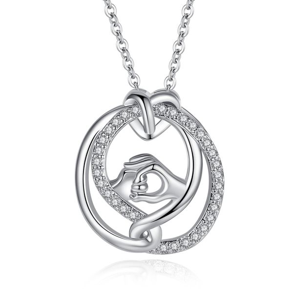 New mother's day necklace wholesale hand in hand necklace inlaid zircon necklace yiwu nihaojewelry wholesale NHKN208036