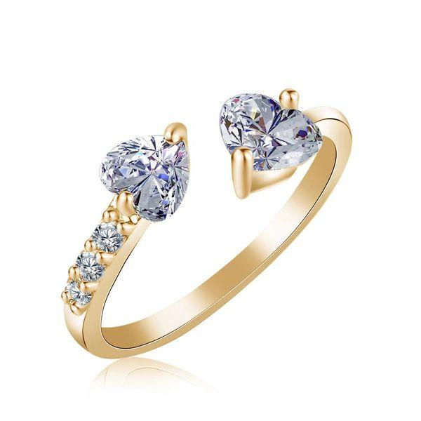 New fashion double heart full diamond open ring zircon women's ring wholesale NHKN208039