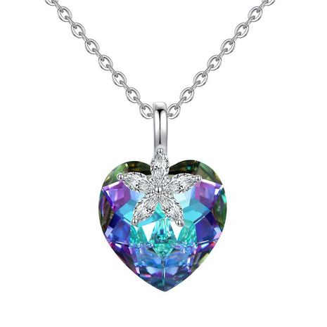 New fashion simple heart-shaped crystal necklace for women wholesale NHKN208041's discount tags