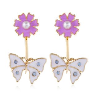fashion popular long ladies personalized pearl butterfly  and flowers alloy earrings nihaojewelry wholesale NHVA214996's discount tags