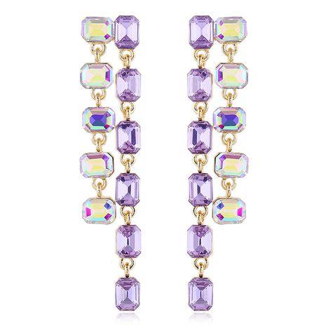 Boucles d'oreilles sauvages coréennes mode longues boucles d'oreilles strass violets exagérés nihaojewelry gros NHVA215006's discount tags