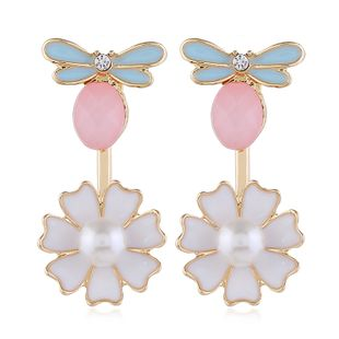 Korean fashion flowers earrings  trend pearl earrings nihaojewelry wholesale NHVA215011's discount tags