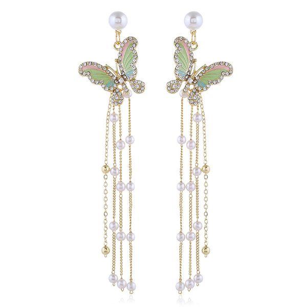 Korean  new wave  wild butterfly pearl tassel earrings nihaojewelry wholesale NHVA215015