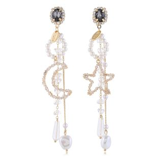 Korean fashion stars and moon asymmetric rhinestones  earrings nihaojewelry wholesale NHVA215018's discount tags