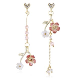 fashion korean  flower earrings  long trend asymmetric  earrings nihaojewelry wholesale NHVA215020's discount tags