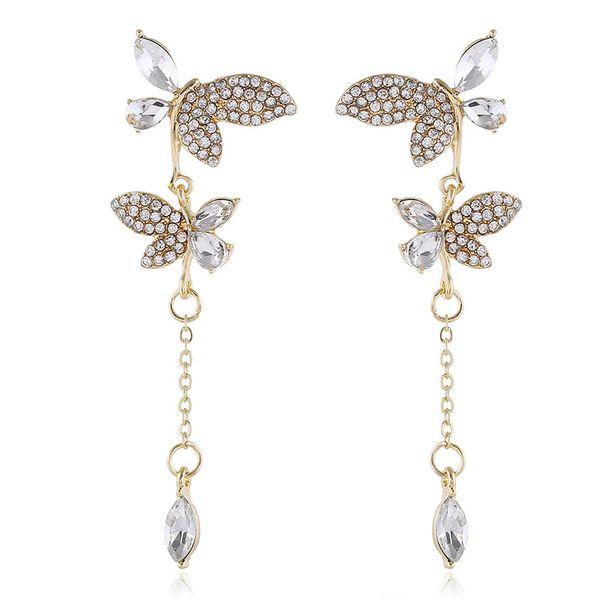 Korean fashion butterfly-set diamond earrings  long asymmetric earrings nihaojewelry wholesale  NHVA215022