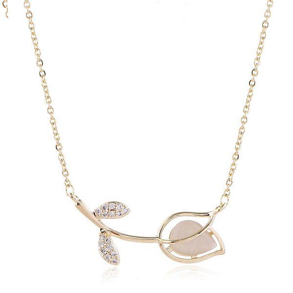 fashion simple Korean  new  diamond flower alloy necklace wholesale  NHVA215023