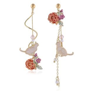 Korean simple cute rose and cat  long asymmetric earrings  wholesale NHVA215026's discount tags