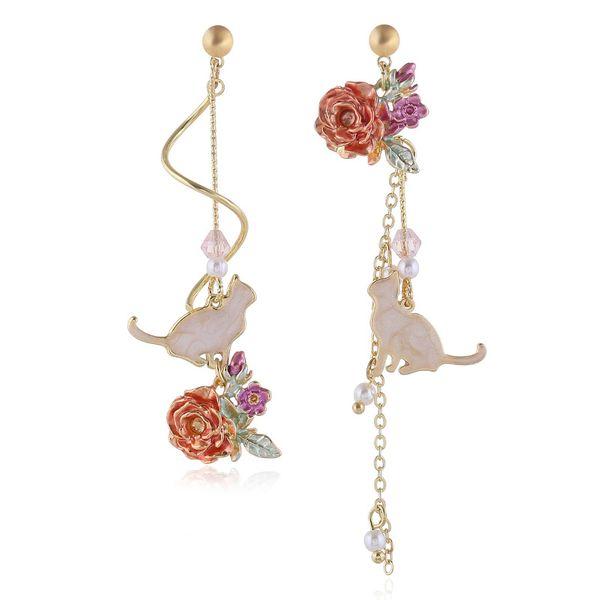 Korean simple cute rose and cat  long asymmetric earrings  wholesale NHVA215026