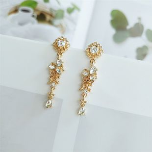 fashion diamond earrings retro alloy flower exaggerated earring nihaojewelry wholesale NHVA215032's discount tags