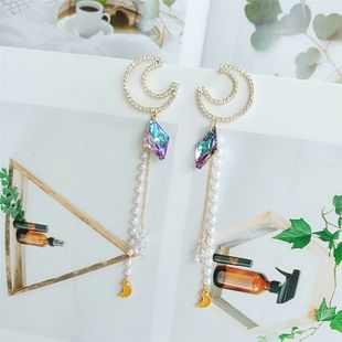 nihaojewelry wholesale  fashion new wave Korean  long tassel moon  exaggerated earrings  NHVA215034's discount tags