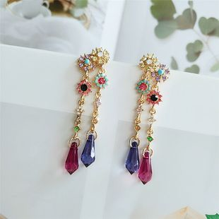 nihaojewelry wholesale fashion tassel alloy earrings   Korean long colorful section simple wild temperament earrings NHVA215035's discount tags