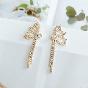 new 925 silver needle butterfly earrings   Korean  long section  diamond exaggerated earrings nihaojewelry wholesale NHVA215036's discount tags