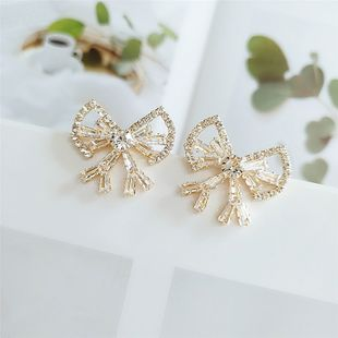 exaggerated full diamond bow earrings nihaojewelry wholesale new diamond earrings women NHVA215040's discount tags
