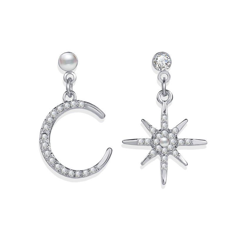 new octagonal moon earrings creative retro simple  inlaid diamond earrings nihaojewelry wholesale NHPJ215042