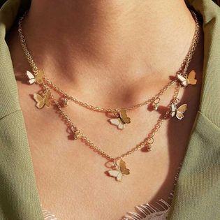 Nueva venta caliente collar de mariposa de moda simple aleación mariposa colgante cadena de clavícula nihaojewelry al por mayor NHPJ215048